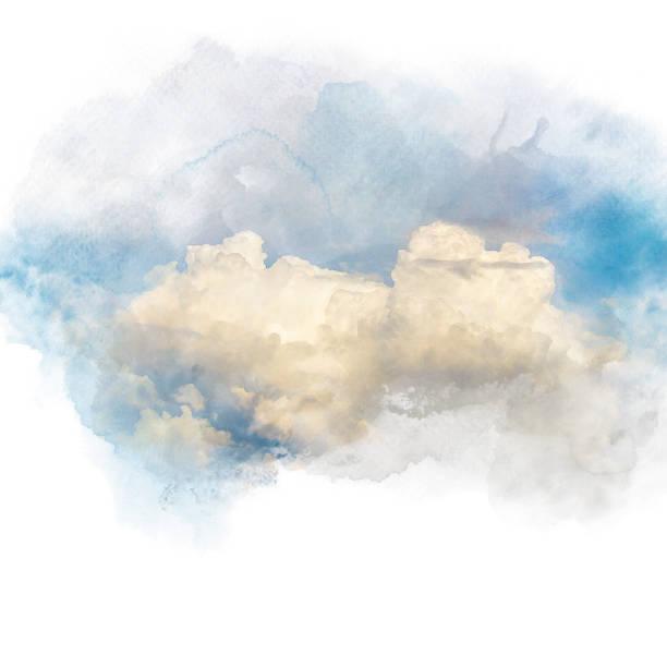 aquarell abbildung des himmels mit cloud (retusche). - himmel bilder stock-fotos und bilder