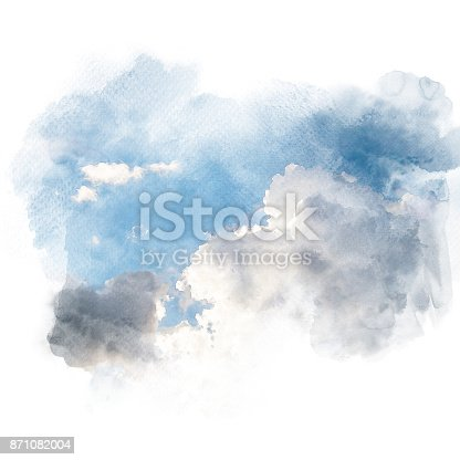 847999586 istock photo Watercolor illustration of sky with cloud (retouch). 871082004