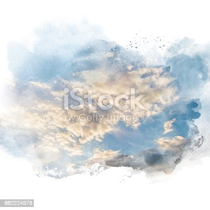 847999586 istock photo Watercolor illustration of sky with cloud (retouch). 882224578