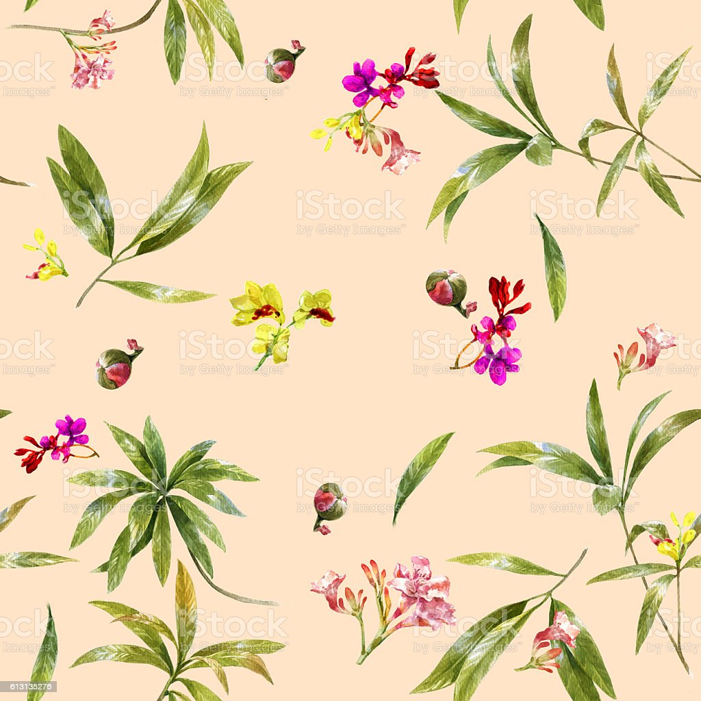 Watercolor illustration painting of leaf and flowers, seamless pattern stock photo