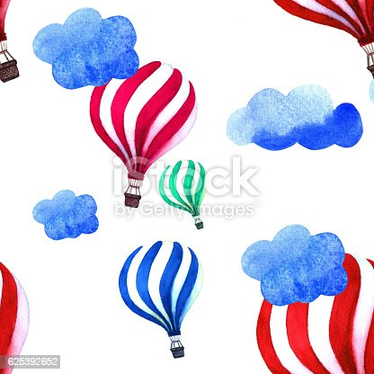 istock Watercolor illustration with hot air balloon and clouds. 625392652