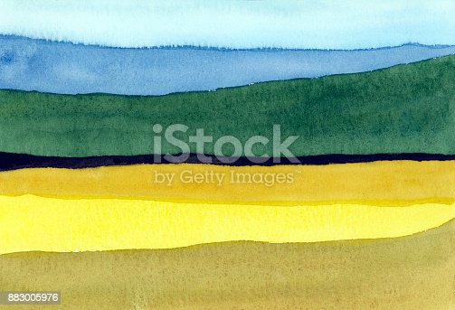istock watercolor landscape field and mountain 883005976