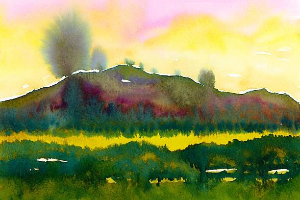 watercolor landscape painting with trees - farbfeldmalerei stock-fotos und bilder