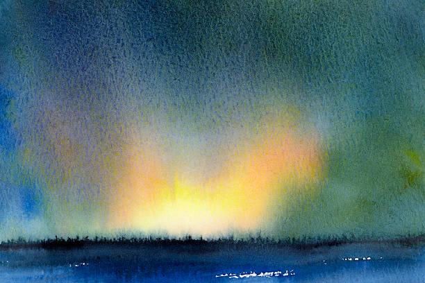 watercolor landscape sunrise over forest - waldmalerei stock-fotos und bilder