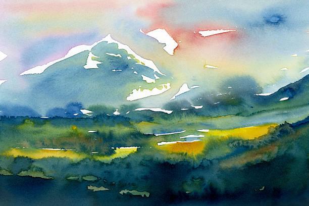 watercolor  landscape with mountains  painting - bilder landschaften stock-fotos und bilder