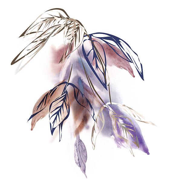 aquarell blätter  - blumenstreifen stock-fotos und bilder