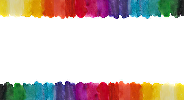 Watercolor lines frame. stock photo