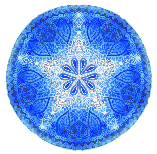 watercolor mandala. decor for your design, lace ornament. - abstract logo stock photos and pictures