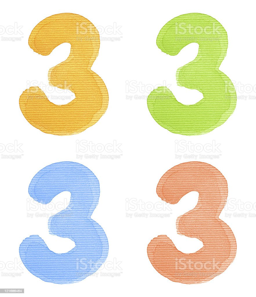 Watercolor number royalty-free stock photo
