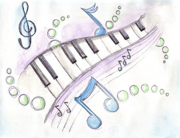 aquarela de teclas de piano & notas - desenhos de notas musicais - fotografias e filmes do acervo