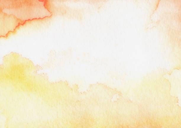 résumé de l'aquarelle orange fond beige jaune - aquarelle sur papier photos et images de collection