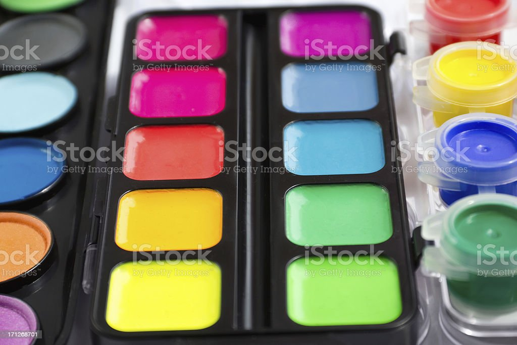 watercolor paint in containers royalty-free stock photo