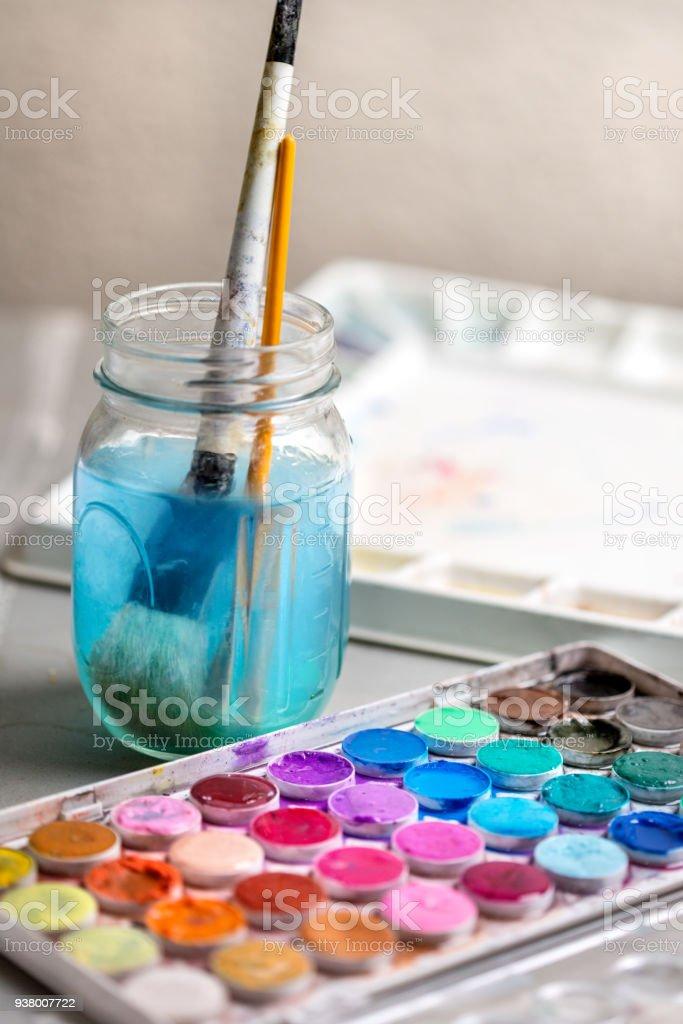 Tazas de agua de la caja de Indena agua pintura Pincel dibujo