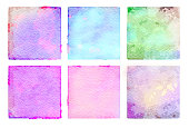Watercolor painted abstract squares, blue, pink, purple, green, aqua and yellow