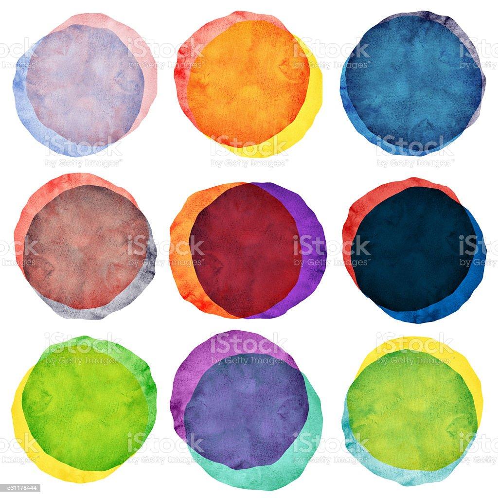 Watercolor painted circles various stock photo
