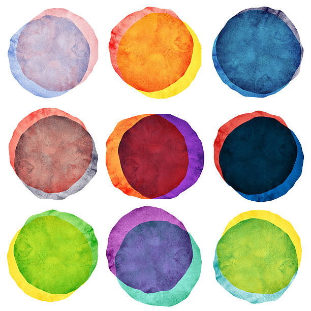 watercolor painted circles various - pencil drawing stock pictures, royalty-free photos & images