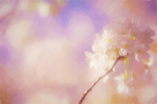 Watercolor Painted Flower Background, Horizontal with Copy Space stock photo