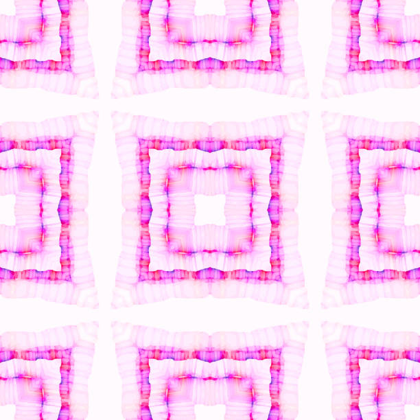 Watercolor Painted Repeating Pattern in Pink, Purple, white and orange stock photo