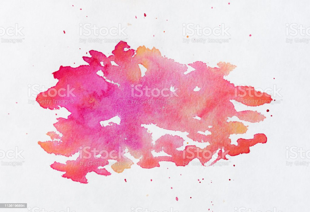 Watercolor painted splotch - pink, orange and yellow on white background stock photo