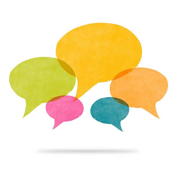 aquarelle bleu peint jaune et de rose bulle de dialogue conversati - bulle de dialogue photos et images de collection