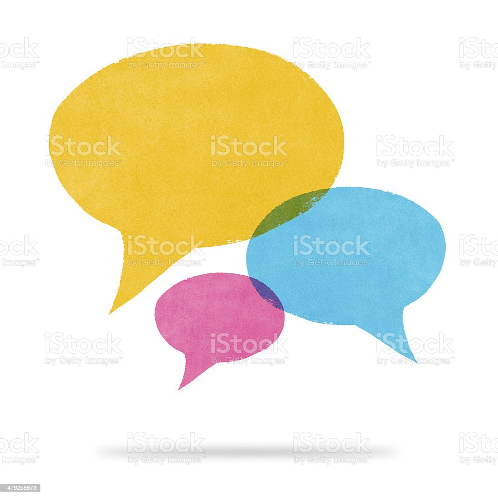 Watercolor Painted Yellow Blue and Pink Speech Bubble Conversati stock photo