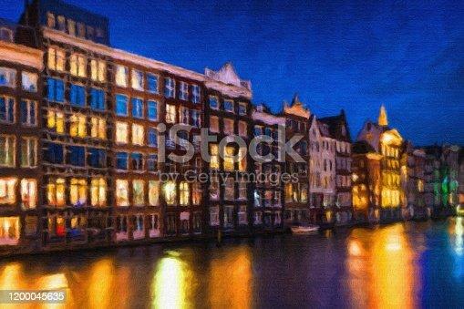 istock Watercolor Painting, Amsterdam 1200045635