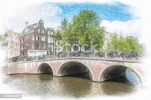 istock Watercolor Painting, Amsterdam 1200045639