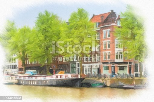 istock Watercolor Painting, Amsterdam 1200045693
