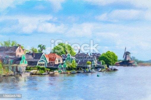 istock Watercolor Painting, Amsterdam 1200045750