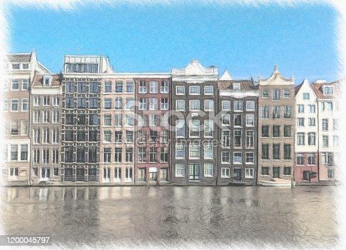 istock Watercolor Painting, Amsterdam 1200045797