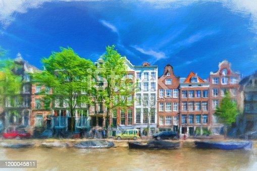istock Watercolor Painting, Amsterdam 1200045811