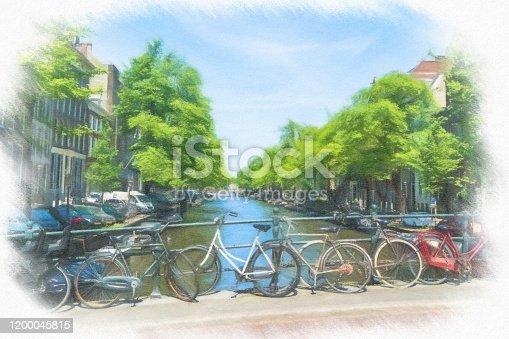istock Watercolor Painting, Amsterdam 1200045815