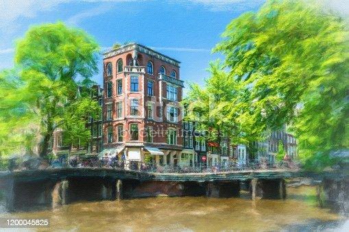 istock Watercolor Painting, Amsterdam 1200045825