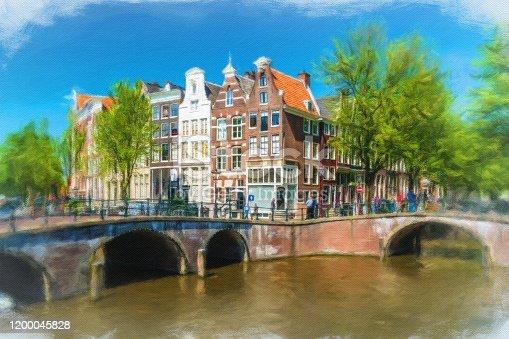 istock Watercolor Painting, Amsterdam 1200045828