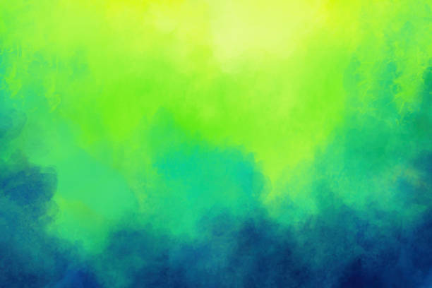 Watercolor Painting Background - Abstract Vivid Colors Blue Green Teal stock photo