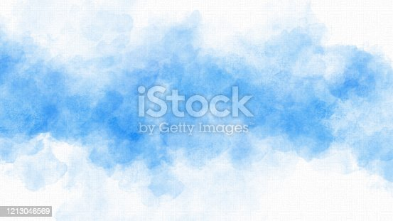Blue Watercolor Painting on Watercolor Paper Background - Copy Space