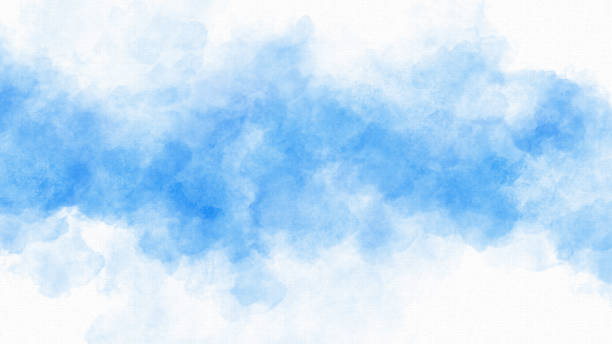 Watercolor Painting Background Blue - Copy Space stock photo