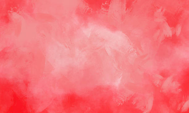 Watercolor Painting Background - Coral Colored Brush Strokes - Vignette stock photo