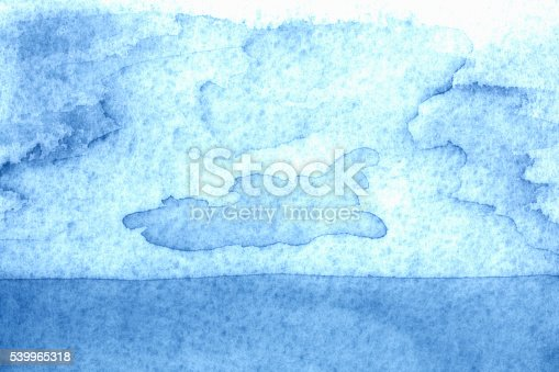 istock Watercolor Painting Backgrounds Sky Blue Sea Cloud 539965318