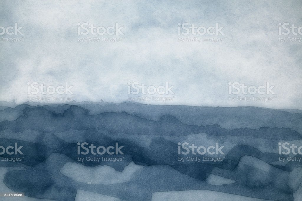 Watercolor Painting Backgrounds Storm Sea Fog stock photo