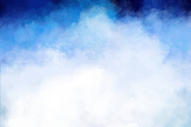 Watercolor Painting - Blue and White Brush Strokes - Hand Painted - White Clouds on Dark Bue Sky - Copy Space stock photo
