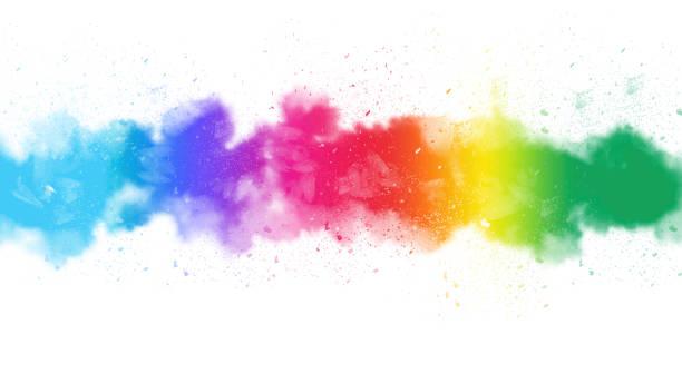 Watercolor Painting Brush Strokes - Rainbow Spectrum stock photo