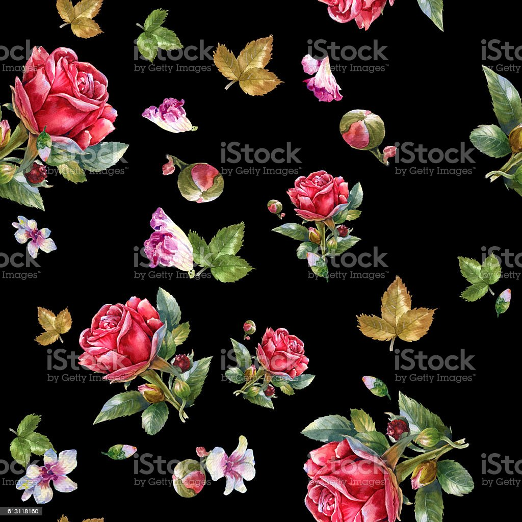 Watercolor painting illustration of Red rose , seamless pattern stock photo