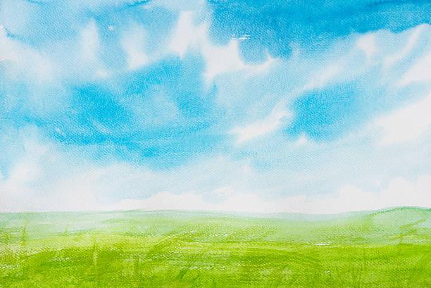 aquarell landschaft - himmel bilder stock-fotos und bilder