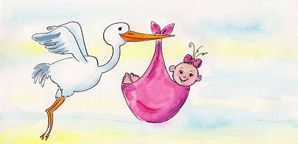 Watercolor painting of a stork delivering a newborn baby girl picture id513813716?b=1&k=6&m=513813716&s=612x612&w=0&h=8fkijwqi e2y0m31gqhiytrtzfklkxicnfhfubemza8=