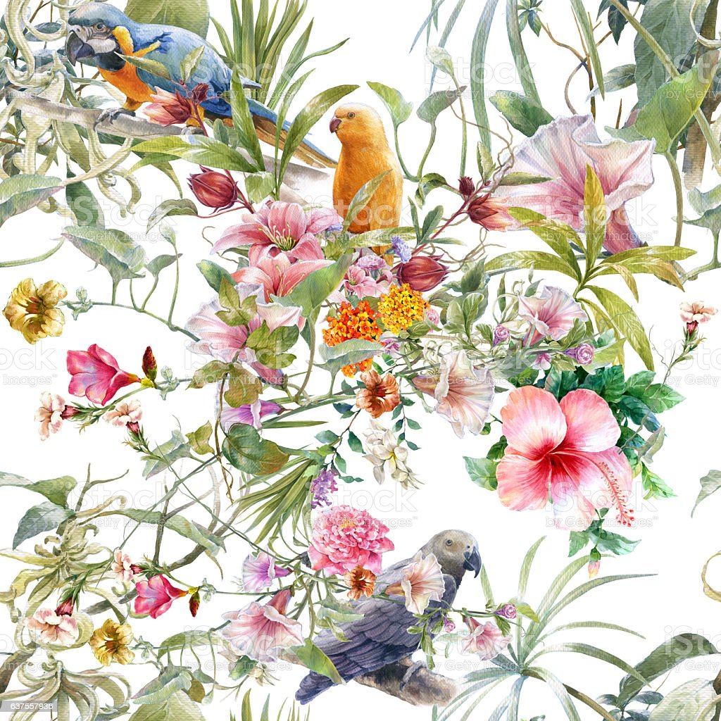 Watercolor painting of bird and flowers, seamless pattern – Foto