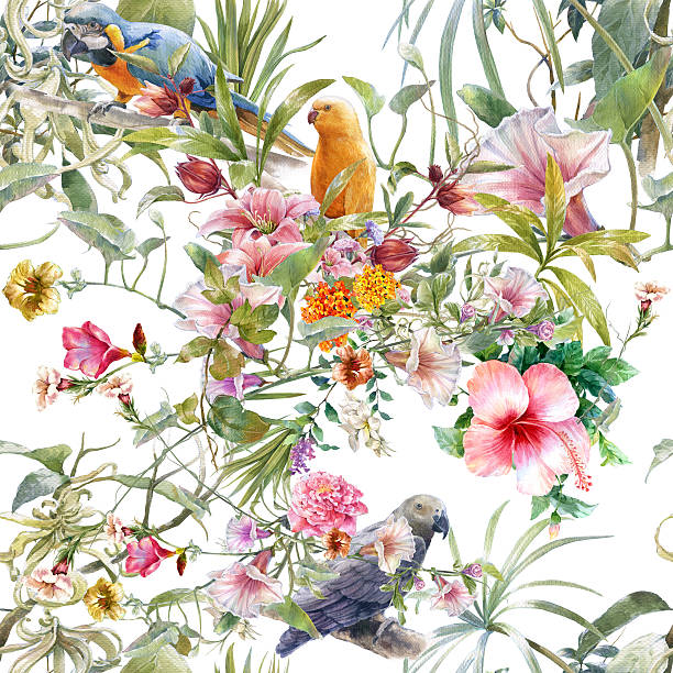Watercolor painting of bird and flowers, seamless pattern stock photo