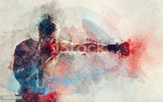 istock Watercolor painting of boxer striking a blow 1043715004