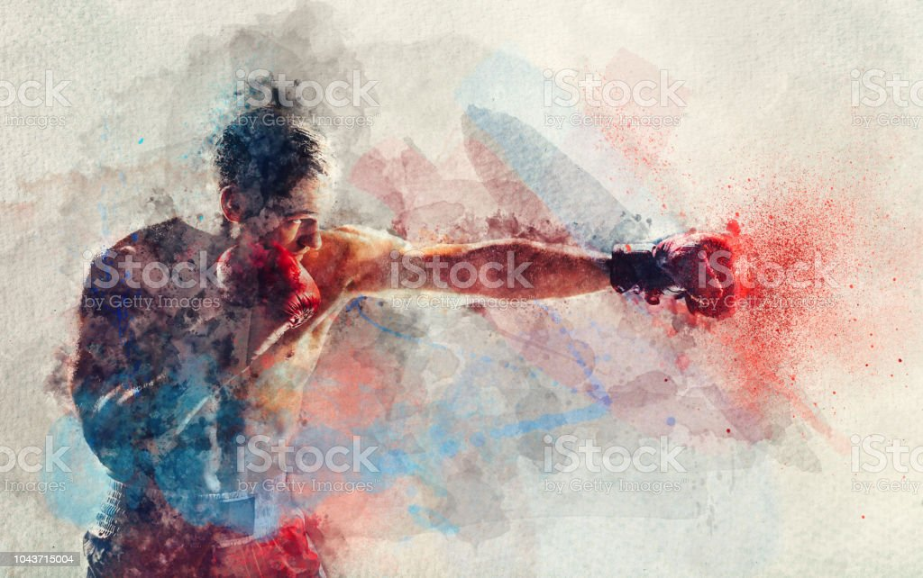 Watercolor painting of boxer striking a blow stock photo