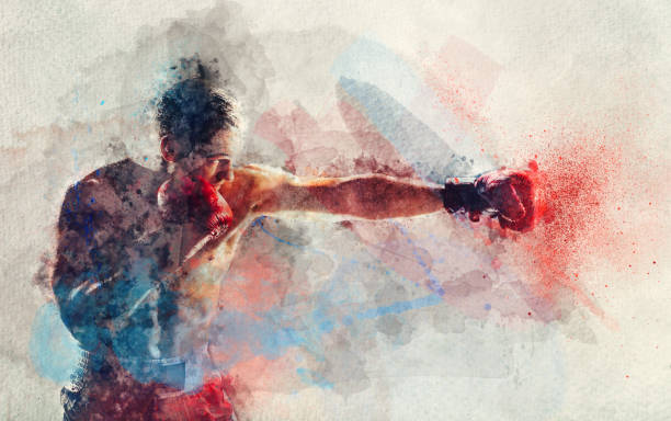 Cтоковое фото Watercolor painting of boxer striking a blow